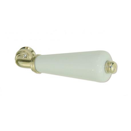 Béquille Simple CANON porcelaine BLANC/Laiton poli