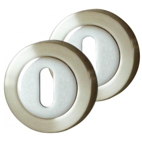 2 Rosaces de fonction Serrure Zinc Chrome nickelé satiné