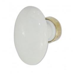 Bouton Simple OVALE porcelaine BLANC/Laiton poli
