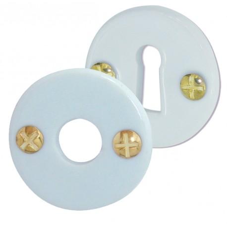 2 Rosaces BEQUILLE et Serrure Porcelaine BLANC