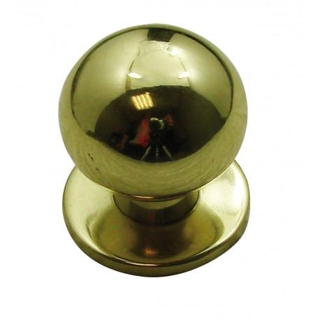 1 Bouton de Meuble BOULE SUR PLATINE Ø 30mm Laiton poli
