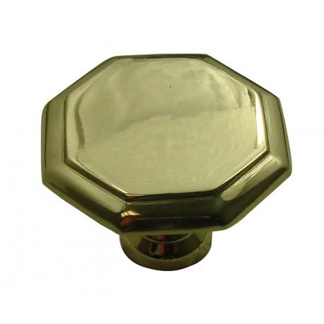 1 Bouton de Meuble OCTOGONAL Ø 50mm Laiton Poli