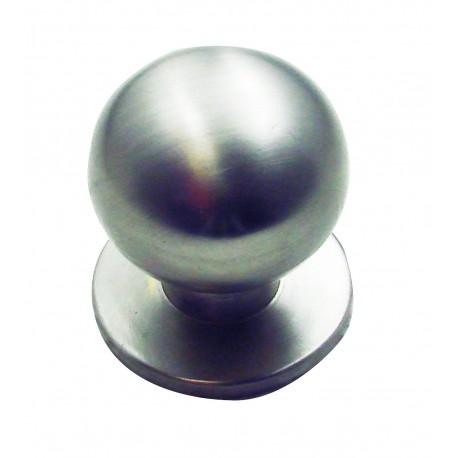 1 Bouton de Meuble BOULE SUR PLATINE Ø 30mm Laiton Nickelé Satiné