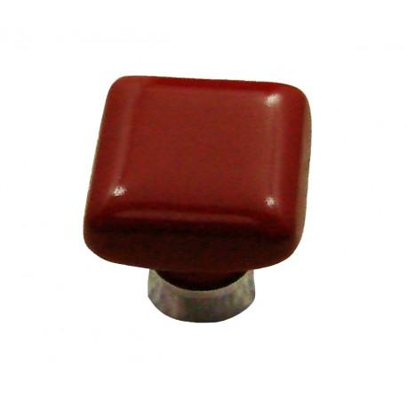 1 Bouton de Meuble CARRE Porcelaine ROUGE 30x30