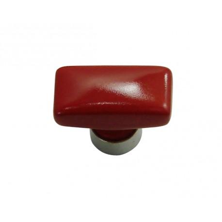 1 Bouton de Meuble RECTANGLE Porcelaine ROUGE 34x17