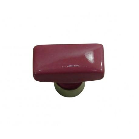 1 Bouton de Meuble RECTANGLE Porcelaine ROSE FRAMBOISE 34x17