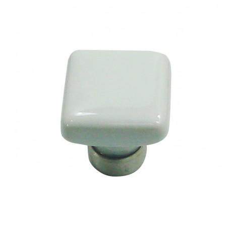 1 Bouton de Meuble CARRE Porcelaine BLANC 30x30