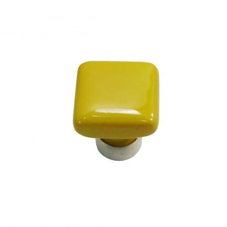 1 Bouton de Meuble CARRE Porcelaine JAUNE D'OR 30x30