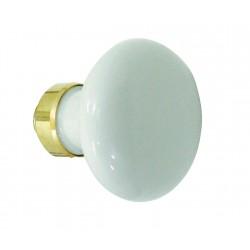 Bouton Simple ROND porcelaine BLANC/Laiton poli