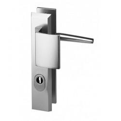 Ensemble/Plaque Porte Palière Cylindre Protégé ALPHA Aluminium Argent 210