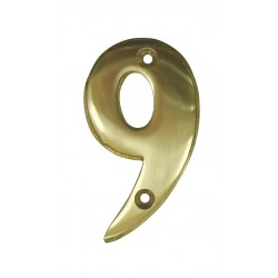 Chiffre 9 Laiton Poli H.67mm