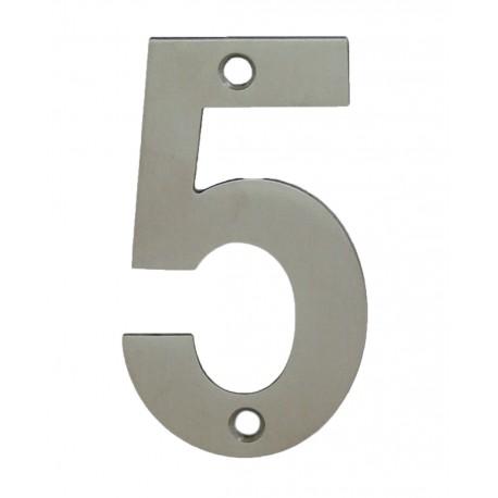 Chiffre 5 Inox Mat Satiné H.75mm