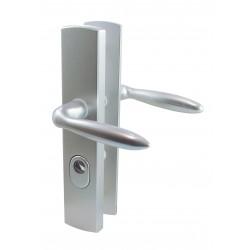 Ensemble/Plaque Béquille Double Cylindre Protégé TIGRA Aluminium Argent 195