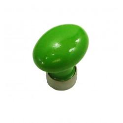1 Bouton de Meuble OVALE Porcelaine VERT POMME Ø 35mm