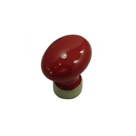 1 Bouton de Meuble OVALE Porcelaine ROUGE Ø 35mm