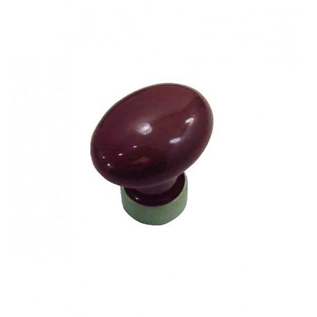 1 Bouton de Meuble OVALE Porcelaine PRUNE Ø 35mm