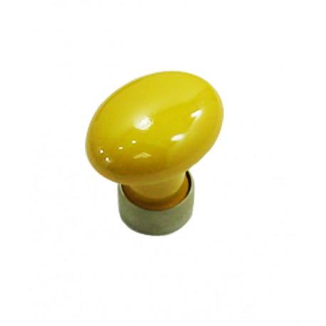1 Bouton de Meuble OVALE Porcelaine JAUNE D'OR Ø 35mm