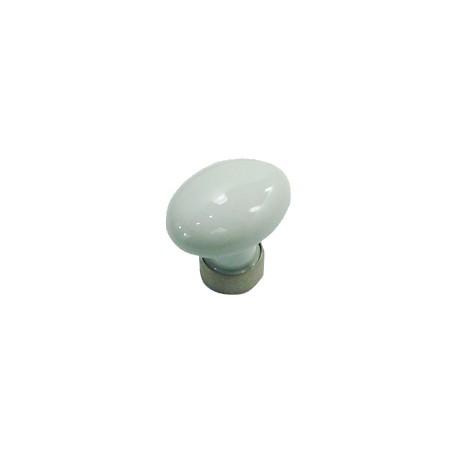 1 Bouton de Meuble OVALE Porcelaine BLANC Ø 35mm