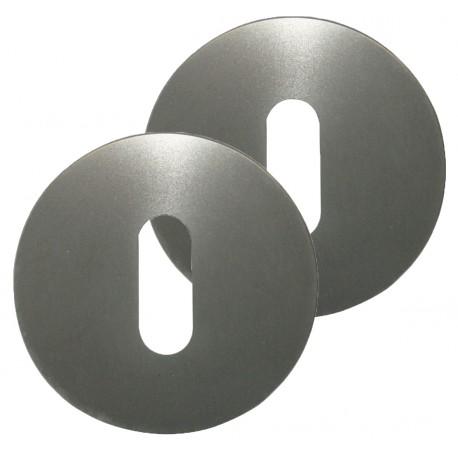 2 Rosaces de Fonction MODENA Aluminium Argent Serrure
