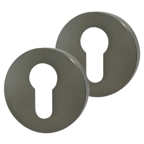 2 Rosaces de Fonction MODENA Aluminium Argent Cylindre