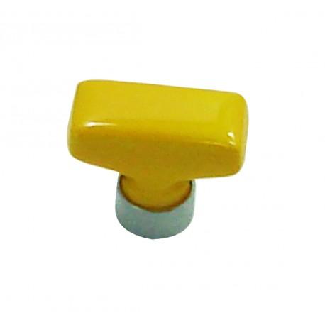 1 Bouton de Meuble RECTANGLE Porcelaine JAUNE D'OR 34x17