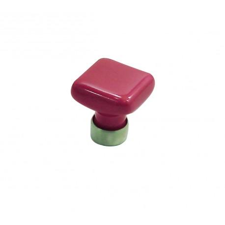 1 Bouton de Meuble CARRE Porcelaine ROSE FRAMBOISE 30x30