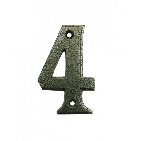 Chiffre 4 Fer Epoxy Martelé H.67mm
