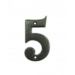 Chiffre 5 Fer Epoxy Martelé H.67mm