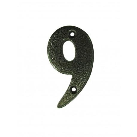 Chiffre 9 Fer Epoxy Martelé H.67mm
