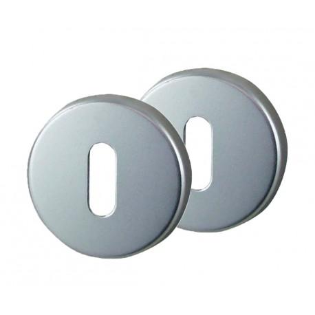2 Rosaces de Fonction Aluminium Argent Serrure