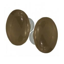 Ensemble de poignées double OVALE porcelaine de LIMOGES TAUPE sur une cuvette nickelée brossée