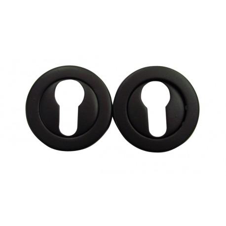 2 Rosaces de Fonction MONACO Zamak NOIR MAT Cylindre