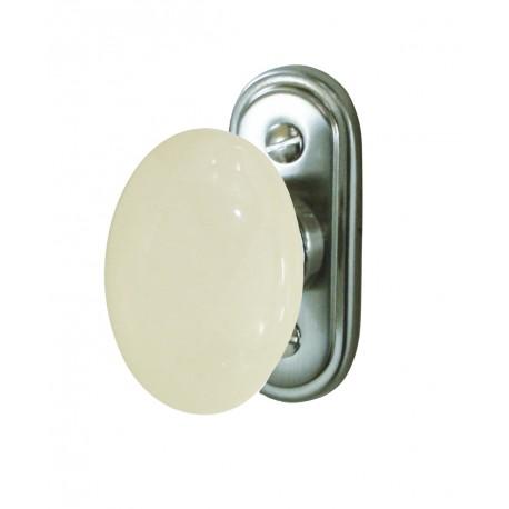 Bouton de Fenêtre OVALE Porcelaine BLANC/Laiton Poli
