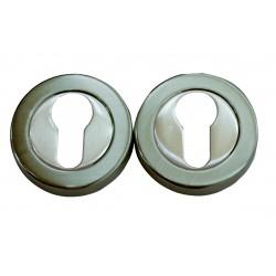 2 Rosaces de Fonction  Zamak Nickelé Satiné cylindre
