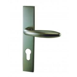 Ensemble/Plaque PLAGNE Aluminium Nickelé satiné Cylindre